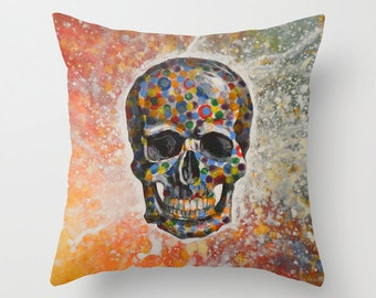 """Decorative throw pillows cover ... from my original abstract landscape painting, """"Skull"""" ... 16"""" x 16"""" Cool Christmas gift"""