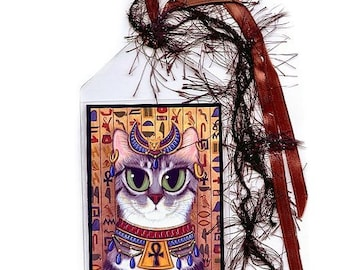 Bastet Cat Bookmark Egyptian Goddess Bast Cat Bookmarker Egypt Fantasy Cat Art Mini Bookmark Gift For Cat Lover