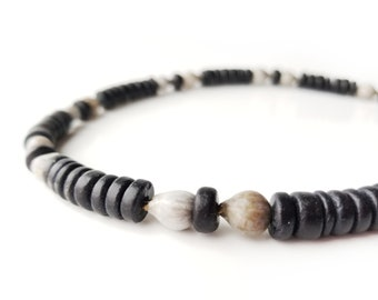 Men's jewelry - wooden necklace with home grown beads - Midnight Jobs Tears