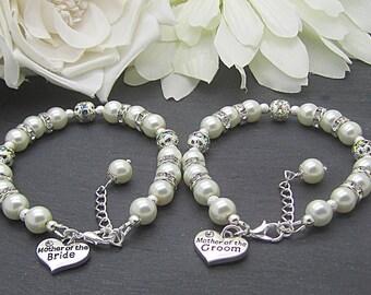 Mother of the Bride Bracelet, Mother of the Groom, Set Of Two, Ivory Bridal Sets, Brides Mother Charm Bracelet, Grooms Mother Gift,