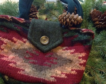 Upcycled sweater purse