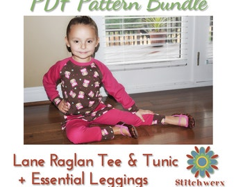 Sewing Pattern Bundle, Raglan Tee, Tunic & Leggings, PDF Sewing Patterns, Girl, Boy, Child, Toddler, Baby, T shirt, Tunic, Leggings
