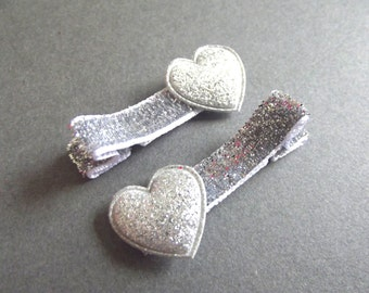 Silver Heart Hair Clips Silver Hair Clips Silver Glitter Hair Clips Baby Girl Hair Clips Baby Hair Clips Valentines Day Toddler Girl Playful