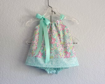 Baby Girls Floral Pillowcase Dress - Infants Aqua Dress with Bloomers -  Aqua Fuchsia and Lime Sun Dress - Size  Nb, 3m, 6m, 9m, 12m or 18m