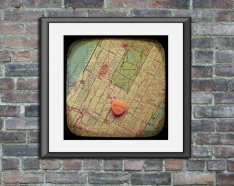 Map art print marry me Times Square New York City Manhattan candy heart custom personalized engagement wedding anniversary gift wall decor