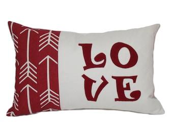 Pillow cover, 12x18, Red throw pillow, Valentine throw pillow, Love pillow, Anniversary gift, Decorative pillow, Red lumbar pillow