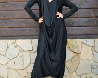 Black Jersey Jumpsuit, Black Plus Size Jumpsuit, Plus Size Jumpsuit, Loose Jumpsuit TJ10 by TEYXO