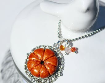 Necklace cabochon silver orange pumpkin made hand - Once Upon a Fantasy
