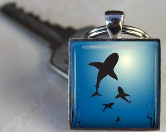 Shark Infested -  Square Glass Tile Pendant Necklace or Keychain - 1 Inch Square - Silver Bezel