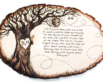 Bee Poem Design: Wood tree slice wall hanging plaque decor. Personalized GIFT