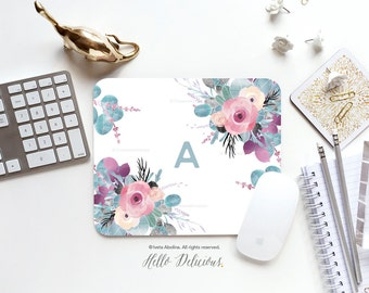 Monogram Mouse Pad Mousepad Floral Watercolor Mouse Mat Spring Mouse Pad Office Mousemat Rectangular Floral Personalized Mousepad Round 54.