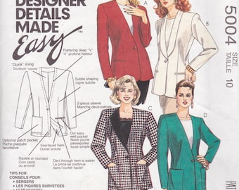 McCall's 5004, Size 10, Misses' Lined Cardigan Pattern, UNCUT, The Creative Cardigan, Career Wear, Jacket, Blazer, Suit