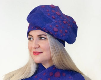 Felt beret hat toque scarf set purple Women accessory, Regina Doseth handmade in Lithuania Europe