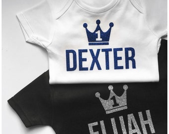 Boys Birthday Party Glitter Crown T-shirt or Babygrow/Vest - Perfect for First Cake Smash Photography as Prop for for 1st, 2nd, 3rd, 4th etc
