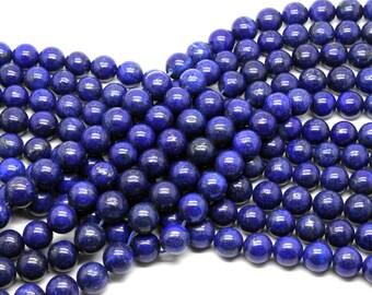 """GUB-0252-4 - Round Lapis Lazuli Beads - 10mm - Natural Gemstone Beads - 16"""" Strand"""