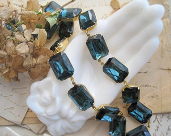 """Navy blue statement necklace, Anna Wintour necklace, Sacred Cake, Art Deco jewelry. """"Montana Morning"""""""