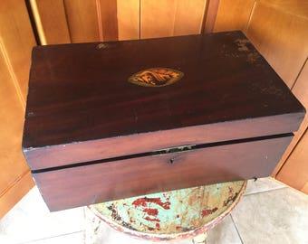 Gorgeous Antique Campaign Victorian Lap Desk, Artist Box for Restoration, Storage, Inlaid shell