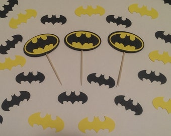 12 Batman Inspired  Party Picks - Cupcake Topper - Toothpicks - Food Picks Die Cut Punch Cardstock