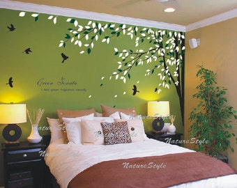 FREE SHIPPING - branch wall decal vinyl wall decal sticker wall decal nursery wall decal baby wall decal children - Branch with Flying Birds