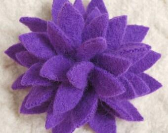 Amethyst Dahlia Flower Brooch - Eco Friendly Recycled Sweater Wool Pin