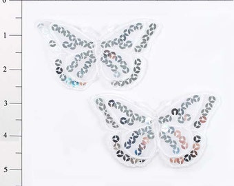 "E6322 Set of (2) White Butterfly Sequin Embroidered Appliques 3.5"" (E6322-wh)"