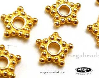 30 pieces 5mm Gold Star Spacers Vermeil Beads S12V