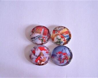 "Assorted Christmas Dwarfs 1.5"" Round Glass Magnet Set of 4"