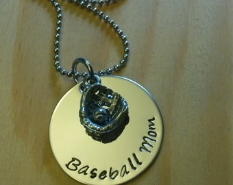 Hand Stamped Personalized Baseball Mom Necklace - Baseball mom Gift