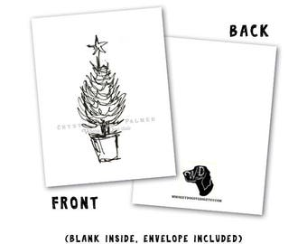 Minimalist Black and White Holiday Greeting Card with Potted Christmas Tree Sketch  - 4.25x5.5 inch Greeting Card Art PRINT
