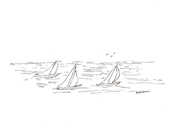 Three Sailboats in the Ocean