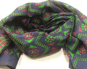 Small Scarf Indian Silk Scarf Neck Scarf Navy Blue Scarf SSF0