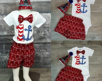 Nautical Birthday Outfit Boy, Nautical 1st birthday boy, Smash Cake outfit boy, Anchor birthday boy, Nautical Birthday Shirt, Nautical theme