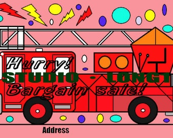 Post card material.(Fire truck)