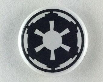 "1"" Button - Imperial Insignia - Black on White"