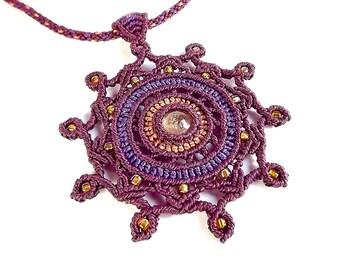 Macrame Necklace, Macrame Mandala, Macrame Pendant, Sunstone Necklace, Kumihimo Necklace, Burgundy, Purple, Orange, Autumn Jewelry