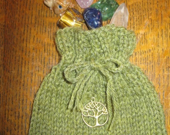 Small Green Magical Bag, Hand Knitted with a Tree of Life Charm
