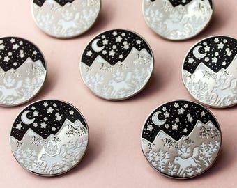 Mountain Fox Hard Enamel Pin Badge, Luxury Mountain Foxy Brooch
