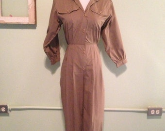 Vintage Taupe Button-Up Pantsuit Small