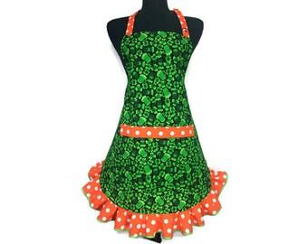 St Patricks Day Apron for women / Green Shamrock Apron with Orange Polka Dot Ruffle / Irish Aprons for women / St Paddys Day Apron