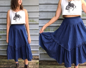80s dark denim ranch skirt w/ ruffle