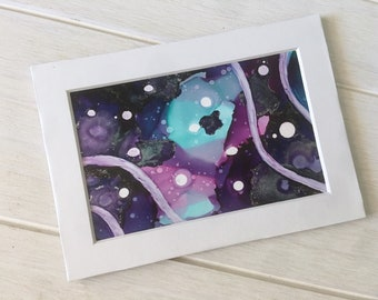 Small Abstract Painting, Original Alcohol Ink Art, 'Cosmic Ripples'