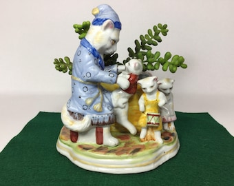 Cat and Kittens Planter, Cats in Pajamas for Nursery, Child's Room, or Desk Organizer