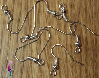 50 supports earrings silver plated hooks
