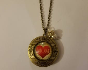 Handmade Mom Locket Necklace and Charm