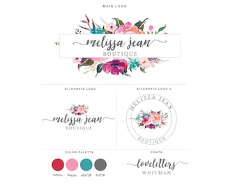 Mini Branding Package, Photography Logo and Watermark, Watercolor Floral Frame Premade Marketing Kit bp16