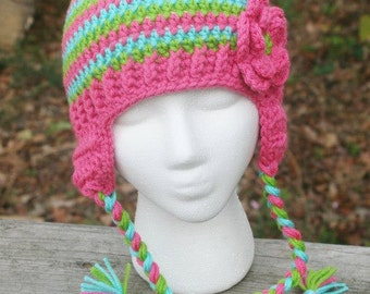 Made to Order crochet earflap hat with flower