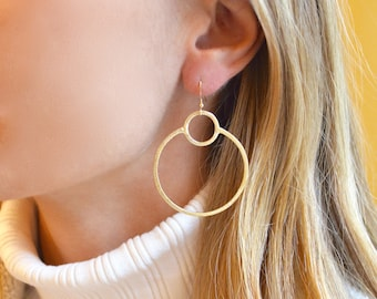 Double Round Vermeil Gold Hoop Earrings - Catherine Marie Jewelry