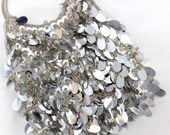 Silver Sequined clutch