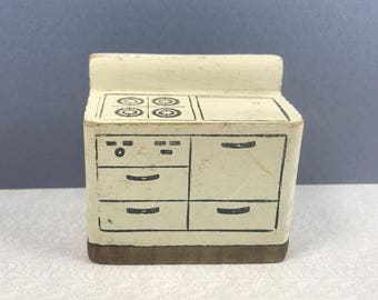 "KAGE STOVE/OVEN Combo, 1930's and 1940's Painted  Wood, 3/4"" Scale, Vintage  Miniature Dollhouse Furniture"