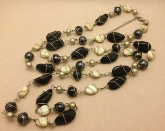 Vintage Glass Bead Long Necklace